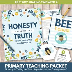Primary Sharing Time 2017: Honesty is Telling the Truth Regardless of the Consequences (July Week 4) - The Red Headed Hostess