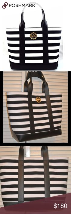 NEW EYE CATCHING MICHAEL KORS LARGE TOTE New with tags great big Michael kors black and white stripes tote. Bundle up and save Michael Kors Bags Totes
