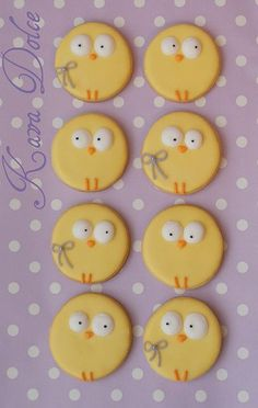 Kekse zu Ostern dekorieren SO CUTE! Easter chick cookies cakes and cupcakes baby chicks Candy Cookies, Iced Cookies, Cute Cookies, Easter Cookies, Sugar Cookies, Decorated Cookies, Easter Cupcakes, Holiday Candy, Holiday Cookies