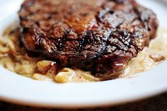 Grilled Ribeye steak with Caramelized onion and blue cheese sauce ala Pioneer Woman... Oh god!