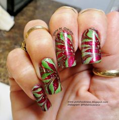 Loreal Hyde Park, OPI Bogota Blackberry, Orly Luxe and Orly Shine on Crazy Diamond poinsettia holiday Christmas water marble