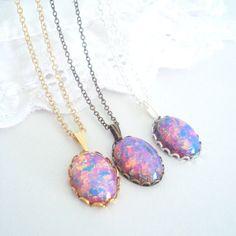 Fire Opal Necklace Vintage Opal Necklace Feminine by BelleBabette