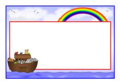 Noah's Ark page borders - free - SparkleBox Page Borders Free, Noahs Ark Craft, Zany Zoo, Noahs Arc, Boarders And Frames, Les Religions, Bible Activities, Bible Crafts, Girls Camp
