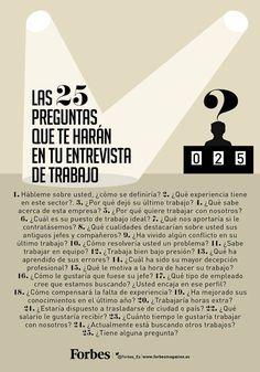 25 Preguntas que podrían hacerte en una entrevista laboral, según Forbes #trabajo #egresados #umayor