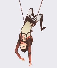 Eren hanging upside down. :)