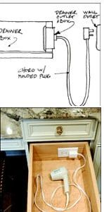 Insanely Clever Upgrades To Make To Your Home Outlets in drawers mean that you can get all that gadget clutter off the counter.Outlets in drawers mean that you can get all that gadget clutter off the counter. Bathroom Baseboard, Small Dressing Rooms, Pc Table, Wooden Counter, Concrete Counter, Ideas Hogar, Home Upgrades, Bathroom Organization, Home Renovation