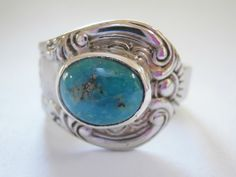 Tibetan turquoise ring. Beautiful swirling floral by SuloJewellery www.etsy.com/SuloJewellery