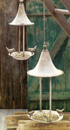 Weathered Fly-Thru Bird Feeder