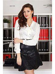 молочный Sexy Blouse, Blouse And Skirt, Debby Ryan, Real Leather Skirt, Leather Skirts, Satin Blouses, White Blouses, Pencil Skirt Black, Pencil Skirts