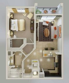 20 one-bedroom apartment plans for singles and couples - . - 20 one-bedroom apartment plans for singles and couples – # Apartment plans - Layouts Casa, House Layouts, Sims 4 Houses Layout, Small House Plans, House Floor Plans, 1 Bedroom House Plans, Plans For Houses, Sims 4 House Plans, Small Apartments