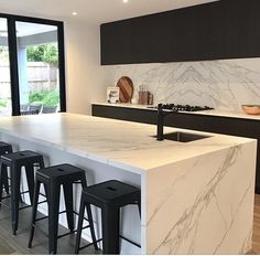 Neolith Calacatta island and splash back. Neolith Calacatta is a porcelain bench… Neolith Calacatta island and splash back. Neolith Calacatta is a porcelain bench top and a world leader in ultra compact technology. The benchtops start at thick Luxury Kitchen Design, Kitchen Room Design, Home Decor Kitchen, Interior Design Kitchen, Home Kitchens, Kitchen Decorations, Interior Ideas, Kitchen Ideas, Space Kitchen
