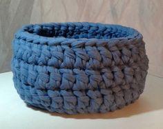 Cachepô Azul - Cesto de crochê -Tam. P