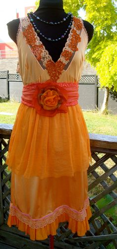Womens Vintage Style Slip Dress Petticoat orange Hand Dyed Bohemian with Two Belts. $200.00, via Etsy.