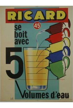 Affiche Originale Ricard 45 ° se boit avec 5 volumes d'eau