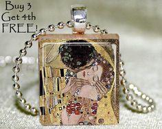 Scrabble necklace, Klimt