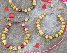 Tigers eye colorful and festive mala bracelets with antique golden charms and macrame closure for yoga gift, meditation, beauty and present!