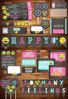 Printable Emoji Inspired Birthday Party Package | 30 Items! | Emojional | So Many Feelings | Teen Party | Emoticon | Smiley Face | Cupcake Toppers | Favor Tags | Food Labels | Banner | Signs | Photo Props and more!