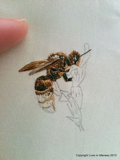 bee embroidery by Love in Idleness, via Flickr