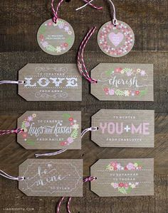 Free Downloadable Printable Customizable Sweet Vintage Valentine's Day Labels Set 2