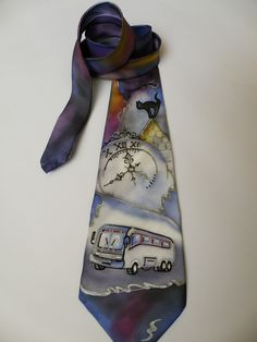 Exclusive Gift for MEN'S for driver hand painted men necktie - Bus in town - vintage clock and bus grey and blue colors FREE SHIPPING. $120.00, via Etsy.