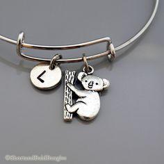 Koala charm Bangle, Koala Bear charm bracelet, Expandable bangle, Personalized bracelet, Charm bangle, Monogram, Initial bracelet by ShortandBaldBangles on Etsy https://www.etsy.com/listing/195966659/koala-charm-bangle-koala-bear-charm