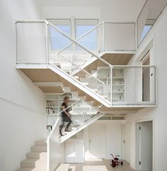 All white open stair