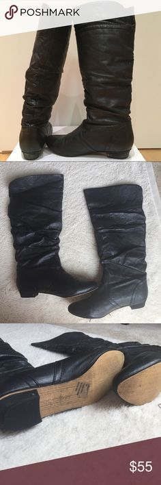 NWT Steve Madden Black Leather Boots NWT Steve Madden Black Leather Boots size 8. NEVER WORN. Has original box if desired however this makes it harder to ship. Steve Madden Shoes Heeled Boots