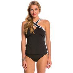 Nautica Soho Solid Criss Cross Tankini Top ($78) ❤ liked on Polyvore featuring swimwear, bikinis, bikini tops, black, cut out bikini top, high neck bikini top, nautical bikini, tankini tops and tankini swimwear