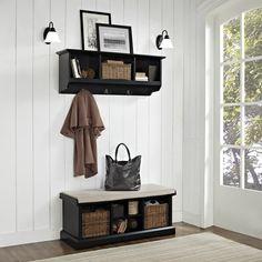 Brennan 2 Piece Entryway Bench and Shelf Set in Black