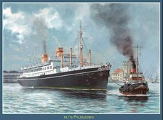 MS Pilsudski built by CDRA Yard at Monfalcone, Italy for PTTO(became Gdynia-America Line), Poland & launched 12/34. 14,294GWT, Length 531ft & Beam 71ft. Diesel engines drove twin screws to give 18kn. In WW II she was to be converted to an Armed Merchant Cruiser but instead was converted to a Troop Transport. On her first wartime voyage on 26/11/39 sailing out of Newcastle, she struck a mine or was torpedoed.Abandonrd by her crew she sank off the Humber. Painting by Grzegorz Nawrocki.,