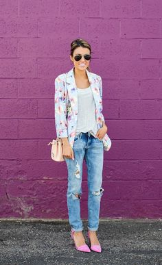 floral blazer and ripped jeans
