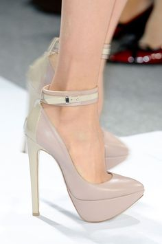 Ruthie Davis nude platform ankle strap Heels for Dennis Basso NY Fasion Week Fall 2013