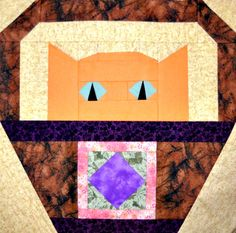 Square in a Square Cat Quilt Block Pattern by CurlicueCreations, $3.00