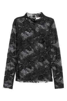 Check this out! NICKI MINAJ x H&M. Long-sleeved lace top with a small stand-up collar, buttons at back, and raw edges. - Visit hm.com to see more.