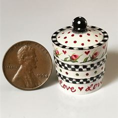 "KARRY JOHNSON IGMA Artisan Miniature wooden Crock ""Roses, Hearts & Checkerboard"" Dollhouse Miniatures, Minis, Crock, Folk Art, Little Girls, To My Daughter, January, Artisan, Roses"