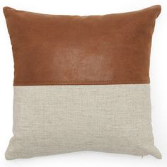 Modrn Industrial Mixed Material Decorative Throw Pillow, 16 inch x 16 inch, Size: x Brown Leather Pillow, Cow Leather, Edge Design, Canvas Material, Industrial Style, Warm Industrial, Pillow Inserts, Pillow Covers, Brown And Grey