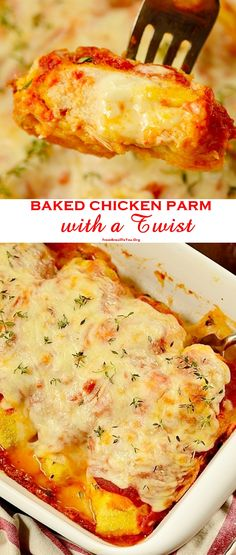 Baked Chicken Parm with a Twist - Eight-ingredient and quick, breaded with cornmeal (Gluten-free) and stuffed with lots of cheese! Chicken is baked directly in the oven, saving time and the stovetop mess.