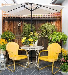 Retro metal outdoor chairs are making a major comeback! Get this updated look with bright-colored paint: http://www.bhg.com/home-improvement/porch/outdoor-rooms/vintage-outdoor-living-ideas/?socsrc=bhgpin040215