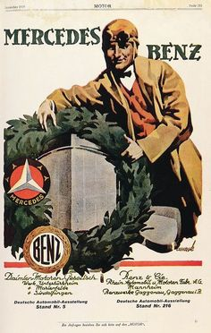 «(1925) Ad poster promoting the union of the Benz Laurel Wreath and the Mercedes Star: the companies Benz & Cie. and Daimler Motoren Gesellschaft merged in 1926».