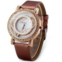 7470388f535 MeiHan A005 Ladies Quartz Watch Diamond Round Dial Leather Strap Quartz  Jewelry