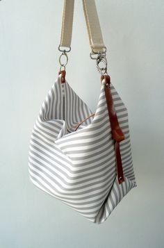Maxi Bag bolso bandolera Marina Gris & Blanco por marabaradesign