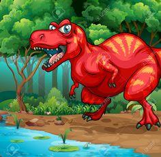 T-Rex Wandelen In De Jungle Illustratie Royalty Vrije Cliparts, Vectoren, En Stock Illustratie. Image 44844547.