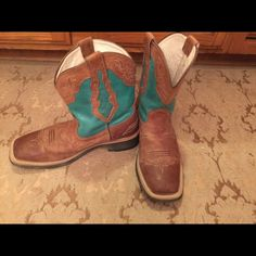 Ariat boots Ariat Fatbaby boots. Classic square toe with the turquoise sides and intricate detailed stitching. These are perfect for working outside, after a little cleaning, dancing that night. Sad to see these go  I know you'll love them as much as I do! Ariat Shoes