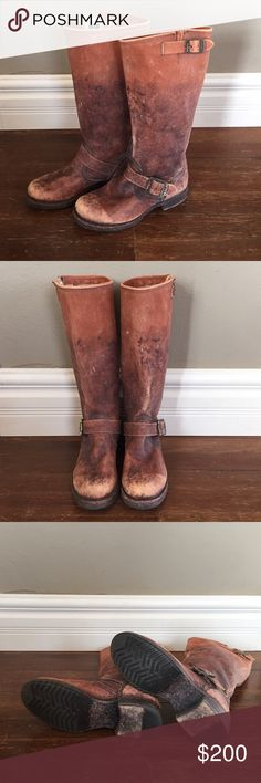 Frye 💥Discontinued💥Veronica Slouch Boots. These beautiful distressed Frye boots are gorgeous. They were discontinued last year, no two pairs were the same. Each pair were uniquely distressed. So disappointed they are too small. Wore them once and just couldn't do it (too much pain). Like new!! Smoke free home. Frye Shoes