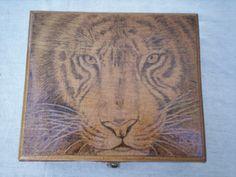 Tiger Eyes  Wooden cigar box with beautiful by KWKraftsWoodburning