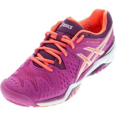 ASICS Women`s Gel-Resolution 6 Tennis Shoes Berry and Flash Coral ($130) ❤ liked on Polyvore featuring shoes, athletic shoes, berry shoes, tennis shoes, sneakers tennis shoes, tenny shoes and coral shoes