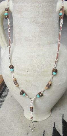 Leather and hemp lanyard with beads in by MatchingTreeDesigns