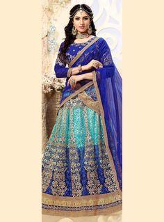 Blue Net A Line Lehenga Choli 90744