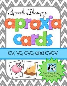 Apraxia Cards for Speech Therapy: Articulation cards for CV, VC, CVC, CVCV, and CVCVC words. These cards are great to use with children who have Childhood Apraxia of Speech or articulation delays. Included in this apraxia card packet: Speech Language Therapy, Speech Language Pathology, Speech And Language, Speech Therapy Activities, Language Activities, Shape Activities, Therapy Games, Childhood Apraxia Of Speech, Speech Therapy