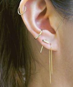 Gabriela Artigas - 14K Gold Hook Earring, Infinite Bar Earring, Infinite Dot Earring, and 14K Ear Cuff available at Lust Covet Desire